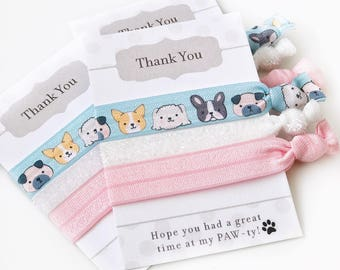 Dog Party Favors - Puppy Birthday Party Supplies - Goodie Bag Stuffers - Puppy Party Decorations -  Puppy Baby Shower Favors Hair Ties