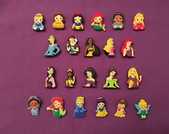 Disney Princesses Shoe Charms for Crocs, Silicone Bracelet Charms, Party Favors, Jibbitz / PVC Kids Disney Princess Necklaces / Keychains