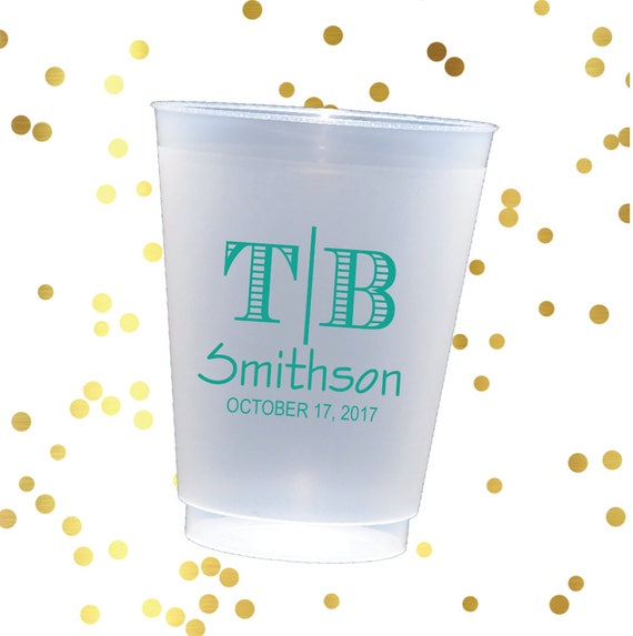 Monogrammed frosted cups, shatterproof wedding cups, monogrammed plastic cup, wedding cup with initials, monogrammed party cups