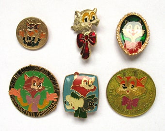 Cat Leopold, Pick your pin, Children's badges, Animal, Round, Vintage collectible badge, Soviet Pin, Soviet Union, Made in USSR, 1980s