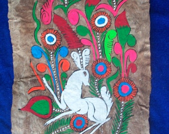 Vintage Mexican Hand Painted Acrylic Painting on Amate Bark