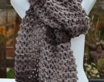 Scarf Wool Scarf Knit Scarf Winter Scarf brown beige knitted by hand in coarse knit look