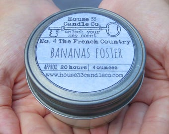 soy beeswax candle, No.4 The French Country, Bananas Foster, soy candle, infused beeswax essential oils, organic, mason jar, bakery scent