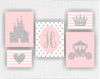 INSTANT DOWNLOAD Silver Glitter And Pink Little Princess Wall Decor  Monogram Castle Carriage Crown Heart Prints