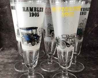 Vintage 7 bar beer glasses with antique cars