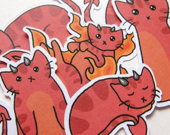 Devil Kitty Stickers, Cute Cats, Journaling, Sticker Flakes, Stationery, Scrapbooking, Paper Stickers, Funny Cats, Ginger Kitties, Devilish