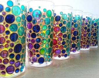 rainbow tumblers set of 6 water glasses multi coloured bubbles sun catcher tumblers hand painted drinking