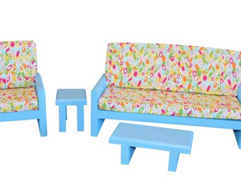 """Blue living room, AG  Doll Furniture, 18 inch Doll Furniture, 18"""" living room, AG living room"""