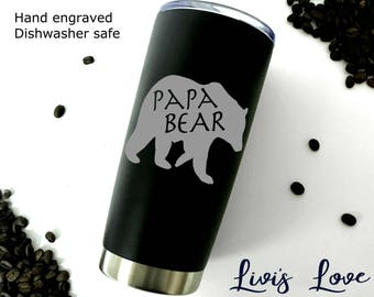 Father's Day Gifts - Papa Bear Mug - Coffee Travel Mug - Dishwasher Safe - 20 oz Stainless Steel thermos - Gift for Dad Coffee to go Mug