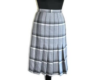 Vintage Grey Wool Pleated Skirt // 1980's Grey and Black A-Line Midi Skirt by St. Michaels // Small UK 8 US 4