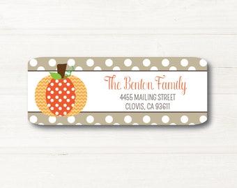 Pumpkin, Fall, Return Address Label, Personalized, MATTE, Tan, Polka Dots, Holiday