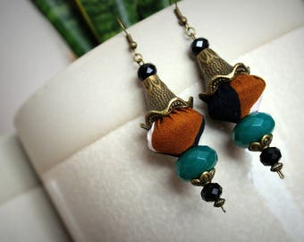 Ethnic earrings chic Pearl pattern bogolan fabric top