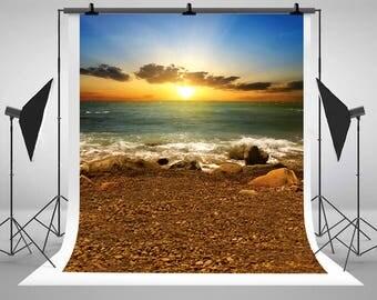 Beach Seaside Sunrise Rocks Wave Photography Backdrops No Wrinkles Photo Backgrounds for Wedding Studio Props