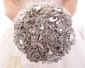 BROOCH BOUQUET for bride or bridesmaids, cheap economy style, silver jeweled with crystals