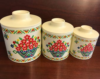 Vintage Canister Set, Ransburg cross stitch Floral Canisters, Nesting Tin canisters, Kitchen Storage, Craft Storage, Gift for Her