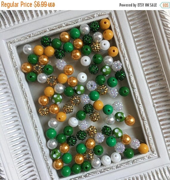 """SALE 12mm """"Packers: Dark Green, Golden Yellow, & White"""" {100 count}  Chunky Bubble Gum Bead Wholesale Bulk Bead Lot for Necklaces or Bracele"""