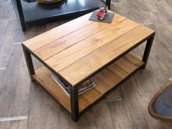 Table basse industrielle bois et m tal for Table basse style loft