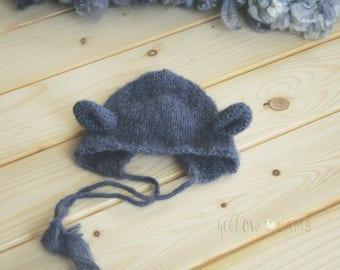Newborn knit hat with lamb hat knit bonnet newborn photography photo props
