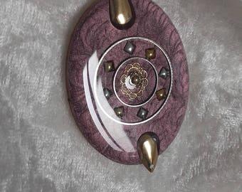 powder plum pendant Pearly resin wood connector handmade golden metal