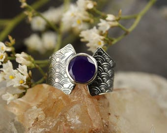 Chalcedonia ring - Japaness wave ring - Boho ring - Sterling silver ring - Handmade