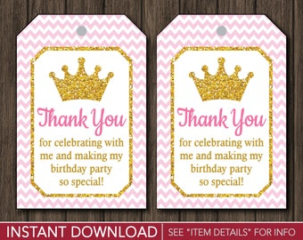 Princess Birthday Favor Tags | Princess Thank You Party Favor Tags | Printable Digital File | INSTANT DOWNLOAD