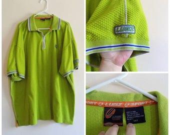 90s Hip Hop, Mens Shirt, Pullover, Lugz, Big and Tall, Chartreuse, Green, Blue, Size 3XLT, Polo Shirt, Collar Shirt, Textured, Cotton, Sport
