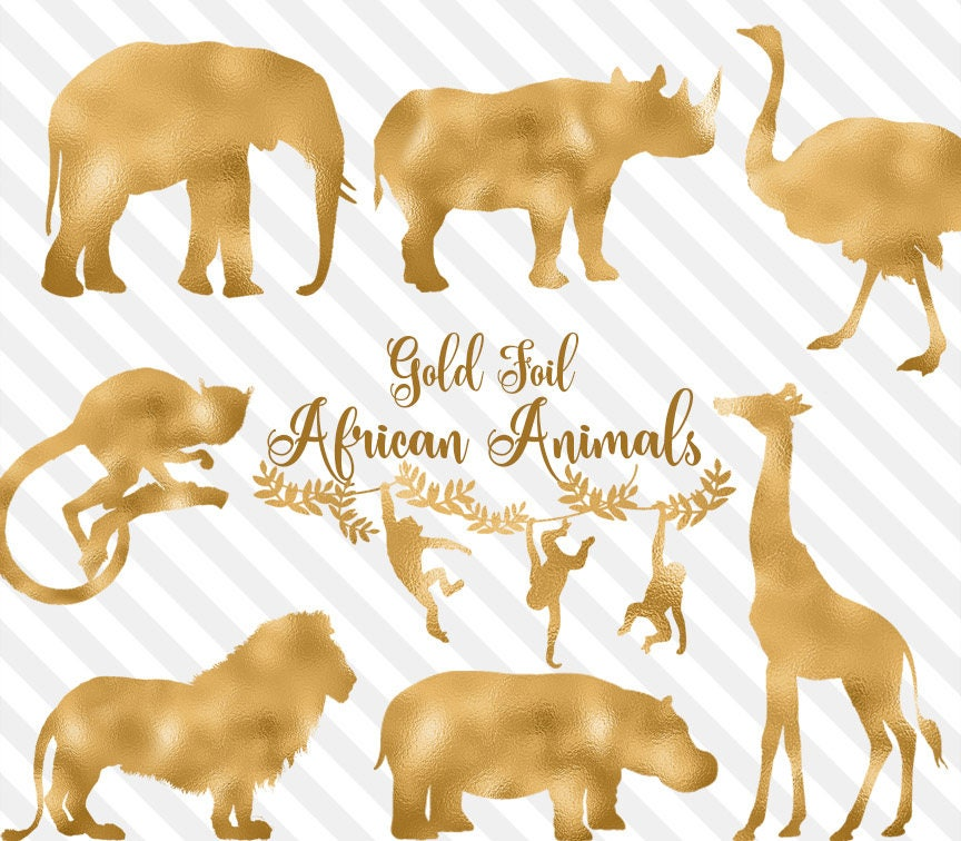 Gold Foil African Animals Clipart, safari animal clip art ...