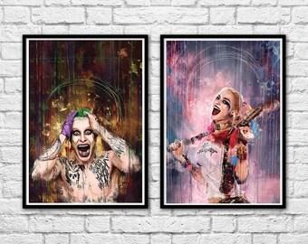 2 Art-Posters 30 x 40 cm - Duo Harley Quinn and Joker