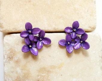 Flower Art Jewelry Earrings, Violets - Hand Painted Purple Studs - African Violet Earrings -Purple Small Pretty Flowers on Post Earrings