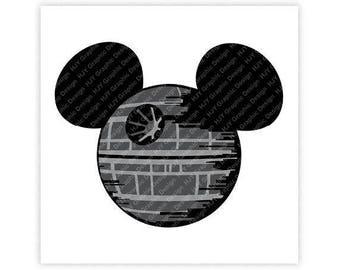 Disney, Star Wars, Death Star, Mickey, Minnie, Mouse, Ears, Head, Icon, Digital, Download, TShirt, Cut File, SVG, Iron on, Transfer