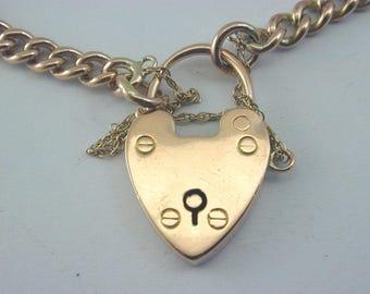 Antique 9ct rose gold bracelet heart padlock 17.6g C.1900 hallmarked every link
