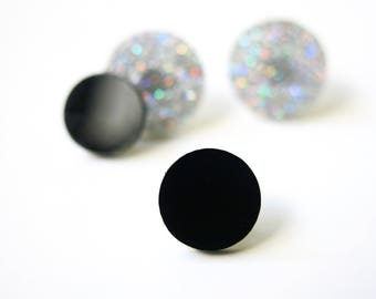 Black little circles earrings