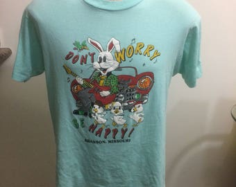 Vintage dont worry be happy t Shirt Size large screen Stars 50/50