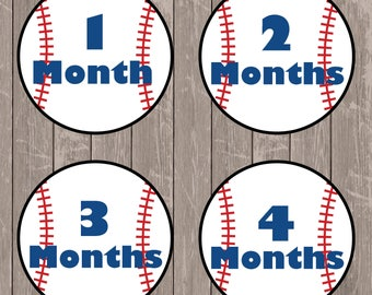 Digital Baseball Milestones Stickers, Baby Monthly Onesie Iron On,  Baby's First Year Printables, Instant Download