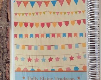 FLAGS + STARS: Personalized Create and Color Custom Journal, Creative Notebook, Blank Book, Handmade Diary with Note Page Style Options