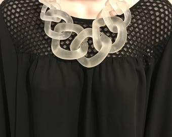 Translucent White Clear Chunky Chain Link Housewife Resin Statement Necklace Additional Colors Available