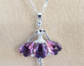 Lovely Purple Gemstone Ballerina / Dancing Lady Necklace