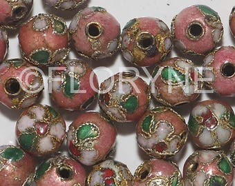 10 Chinese cloisonne Pink 8Mm round beads