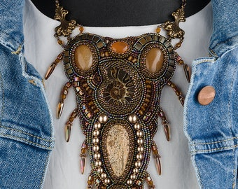 Christmas bohemian jewelry her Fringe necklace Ethnic brown jewelry her Butterum Ammonite necklace Aventurine Embroidered necklace her