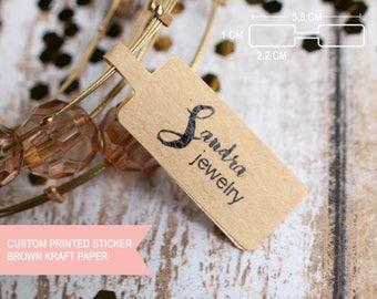 Custom artsy cursive jewelry tag brown kraft paper sticker