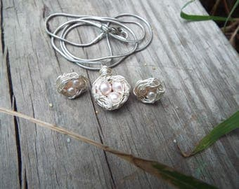 Birds Nest Necklace And Earring Set