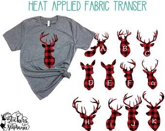 IRON ON v63-Heads RED Buffalo Plaid Vinyl Deer Heads Buck Doe T-Shirt Fabric Transfer Decal