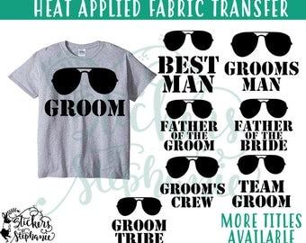 IRON ON v97-G2 Wedding Party Aviator Sunglasses Heat Applied T-Shirt Fabric Transfer Decal