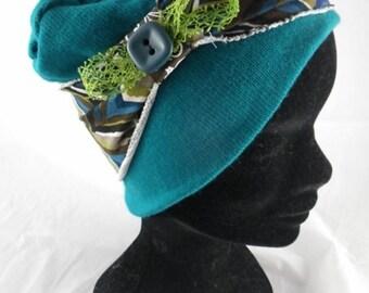 Green Bas074 - Blue chemo hat and fancy headband