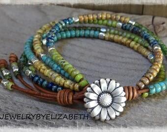 Beaded Leather Wrap/ Boho Seed Bead Bracelet/ Leather Wrap Bracelet/ Bohemian Leather And Seed Bead Wrap Bracelet/ Multi-Color.