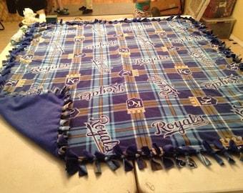 Kansas City Royals hand tied fleece blanket