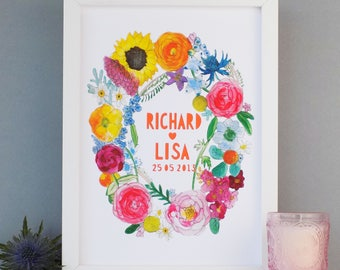 Wedding Print - Personalised Wedding Print - Anniversary Print - Floral Wedding Print -  Summer Wedding Flowers print - Custom wedding gift