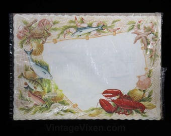 1950s Place Mats - Lobster Seafood Theme Dining Restaurant - Set of 11 Paper Placemats - Terrific Vintage Graphics - Springprint - R2135