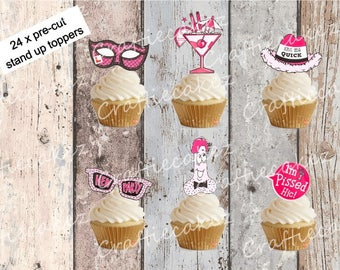 24 x Edible Pre Cut Hen Party Stand Up Cupcake Toppers