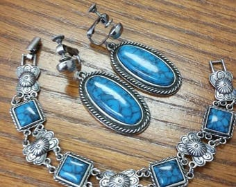 Vintage 1950 Goldette Signed Turquoise and Silver Tone Earring and Bracelet Set.